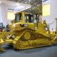 A Caterpillar bulldozer in a trade-show display