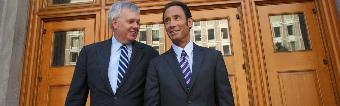 Boston personal injury lawyers Douglas Sheff and Don Grady leaving a courthouse in Boston