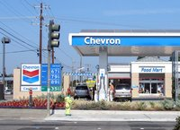 Daytime view of a Chevron gas station