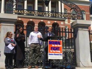 Boston personal injury lawyer Doug Sheff speaks at the Worker's Memorial Day Commemoration