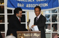Doug Sheff is introduced at the Middlesex County Bar Association Banquet