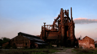 View of an industrial production plant at sunset