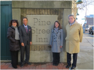 (Left to Right) Pine Street Inn President Lyndia Downie; Mass Bar Association President Douglas Sheff; Pine Street Board Members Megan Gates of Mintz, Levin, Cohn, Ferris, Glovsky and Popeo; and Pat Jones of Jones Kelleher.