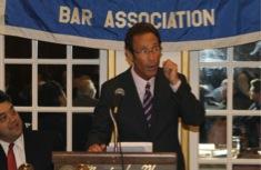 Massachusetts Bar Association President Doug Sheff addresses the Middlesex County Bar Association's 113th Annual Banquet