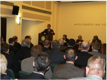 Boston personal injury lawyer Doug Sheff addresses the first Massachusetts Bar Association Workers Compensation Section meeting